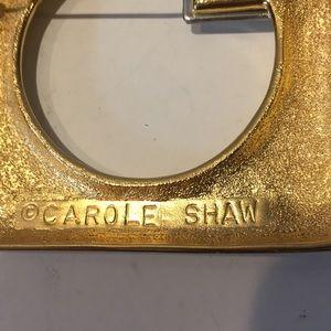 carole Shaw Jewelry - Carole Shaw huge gold tone & large stone pin